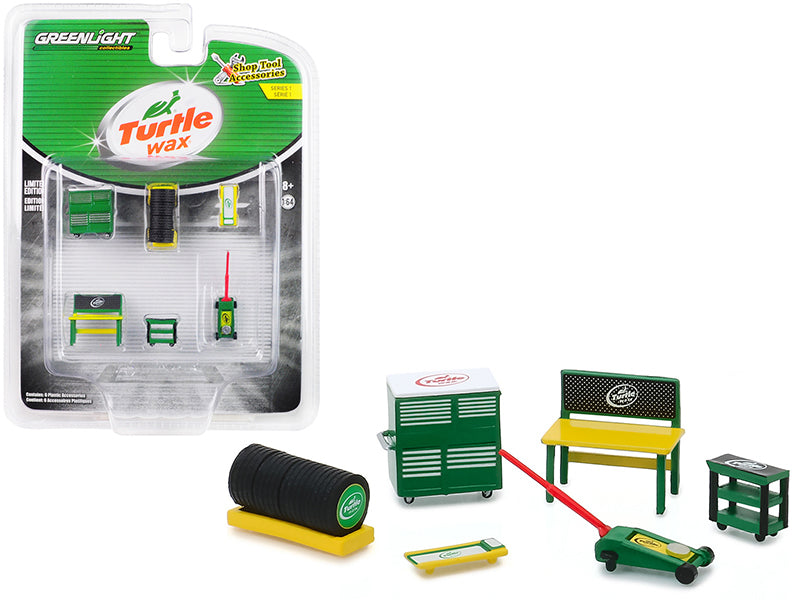 """Turtle Wax"" 6 piece Shop Tools Set ""Shop Tool Accessories"" Series 1 1/64 - Greenlight - 16020C"