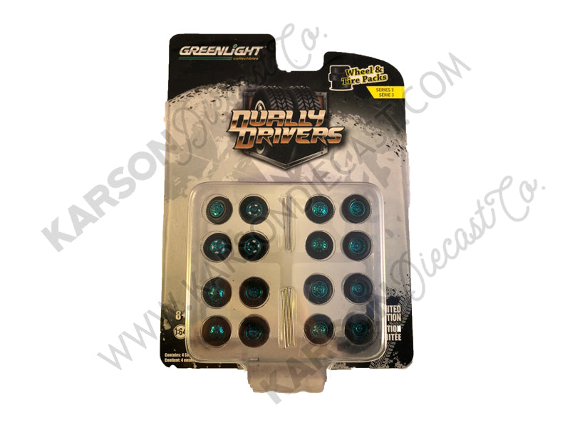 "CHASE ""Dually Drivers"" Wheels and Tires Multipack Set of 24 pieces 1:64 Models ""Wheel & Tire"" Series 3 - Greenlight 16050A"