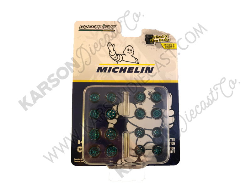 "CHASE ""Michelin"" Wheels and Tires Multipack Set of 24 pieces ""Wheel & Tire Packs"" Series 3 Diecast 1:64 - Greenlight - 16050B"