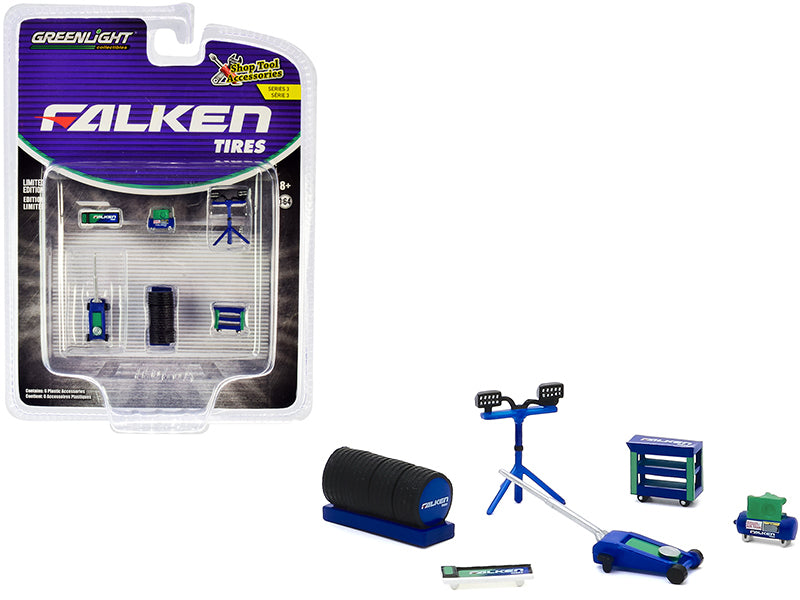 """Falken Tires"" 6 piece Shop Tools Set ""Shop Tool Accessories"" Series 3 Model 1:64 - Greenlight 16060A"