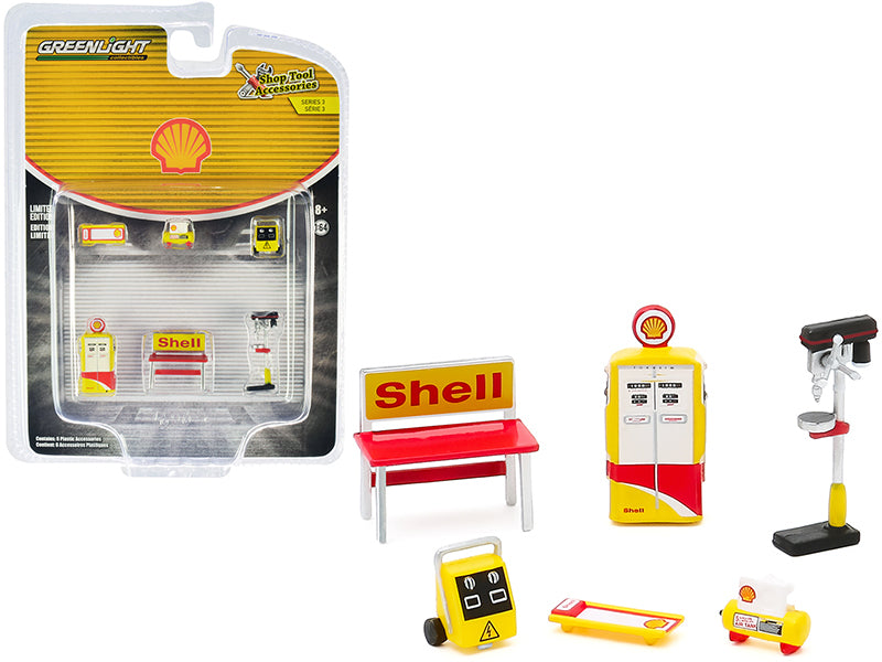 """Shell Oil"" 6 piece Shop Tools Set ""Shop Tool Accessories"" Series 3 Model 1:64 - Greenlight - 16060C"