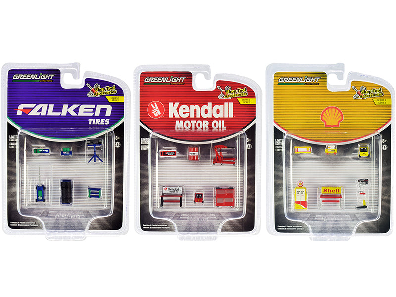 """Shop Tool Accessories"" Set of 3 Multipacks Series 3 Diecast Models 1:64 - Greenlight - 16060"