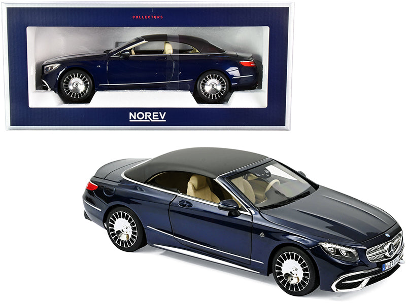 2018 Mercedes Maybach S650 Cabriolet Dark Blue Metallic with Black Top 1:18 Diecast Model Car - Norev - 183472