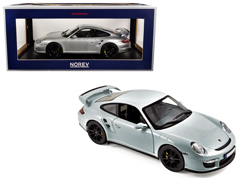 2007 Porsche 911 GT2 Silver with Black Wheels 1/18 Diecast Model Car - 187594 - by Norev