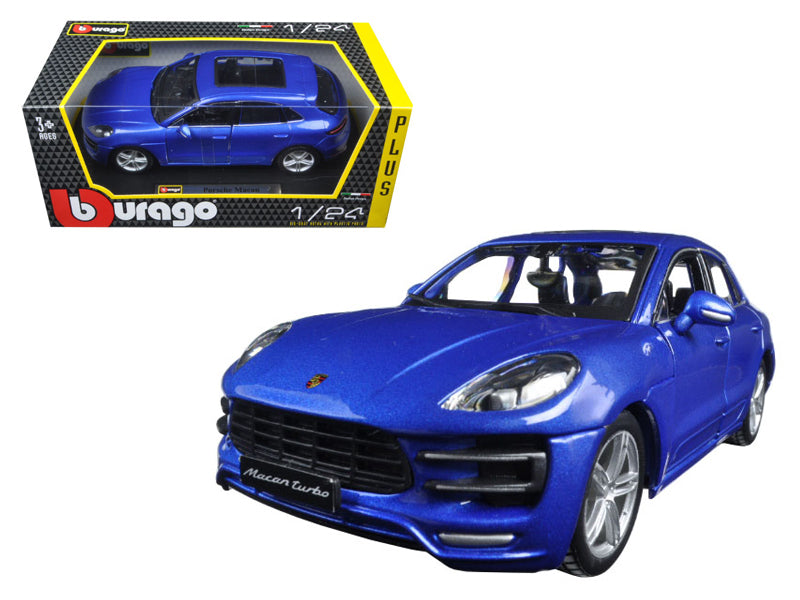 Porsche Macan Turbo Metallic Blue 1:24 Diecast Model Car - Bburago - 21077BL