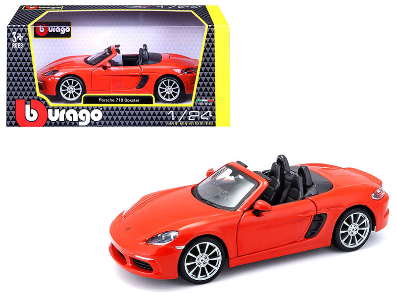 Porsche 718 Orange Boxter 1:24 Scale Diecast Model Car  - Bburago - 21087OR