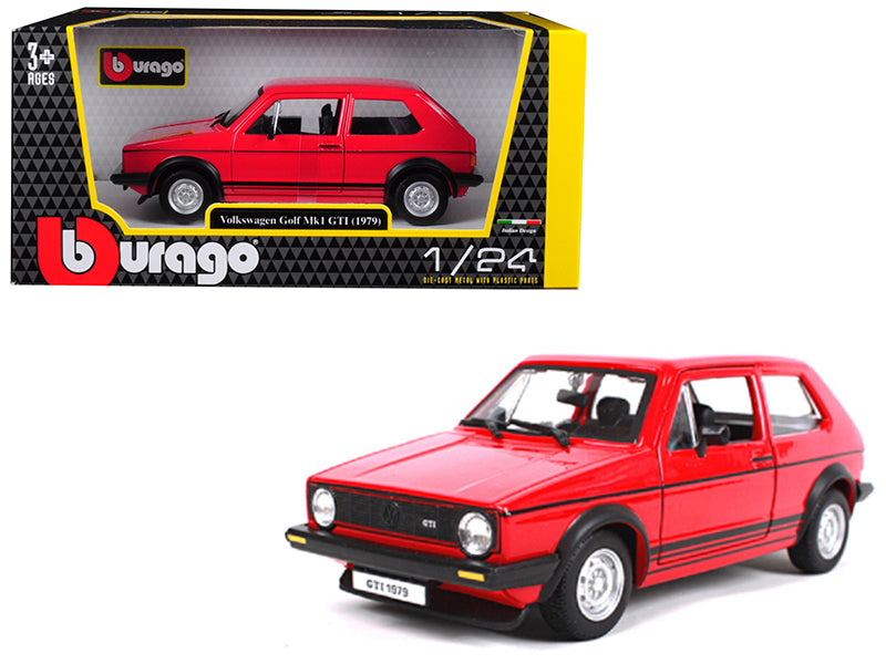 1979 Volkswagen Golf Mk1 GTI Red with Black Stripes 1:24 Diecast Model Car - Bburago - 21089RD
