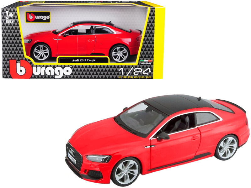Audi RS 5 Coupe Red with Black Top 1:24 Diecast Model Car - Bburago - 21090RD