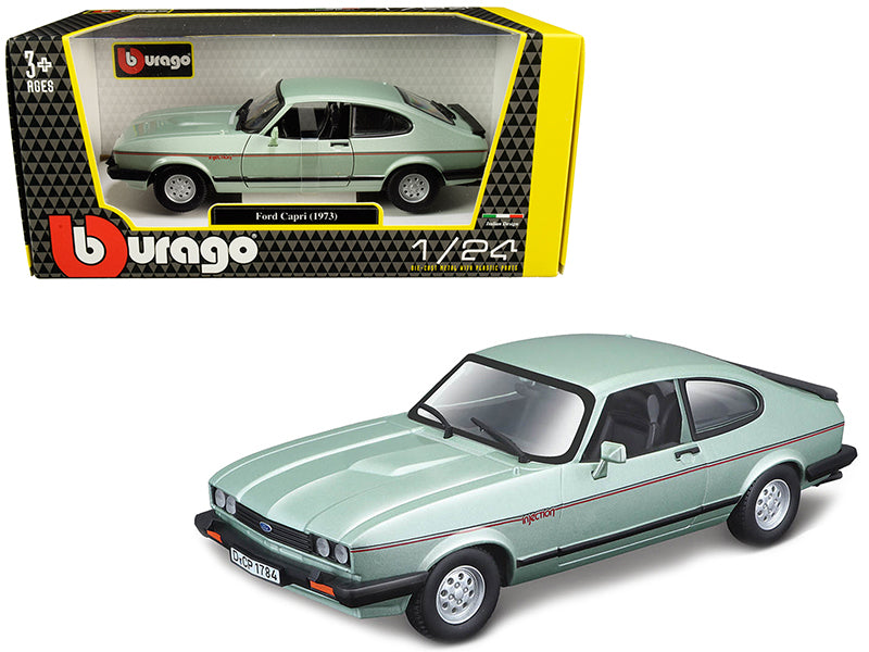 1973 Ford Capri Light Green Metallic 1:24 Diecast Model Car - Bburago - 21093GRN