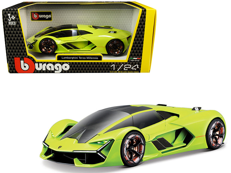 Lamborghini Terzo Millennio Lime Green with Black Top and Carbon Accents 1:24 Diecast Model Car - Bburago - 21094GRN