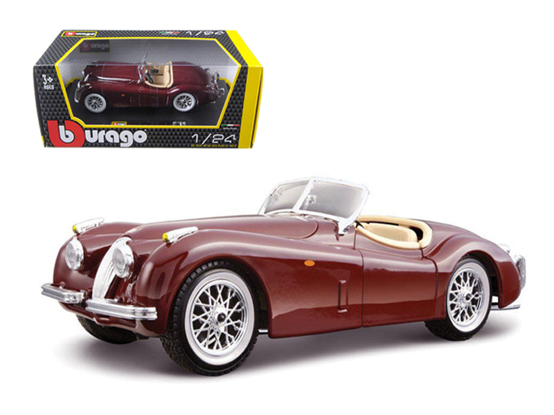 1951 Jaguar XK 120 Roadster Burgundy 1/24 Diecast Model Car - Bburago - 22018