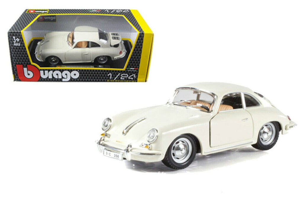 1961 Porsche 356 B Coupe Ivory Cream 1:24 Diecast Model Car - Bburago - 22079IV