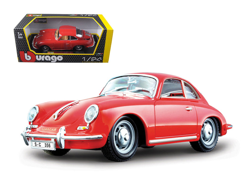 1961 Porsche 356 B Coupe Red 1/24 Diecast Model Car - Bburago - 22079