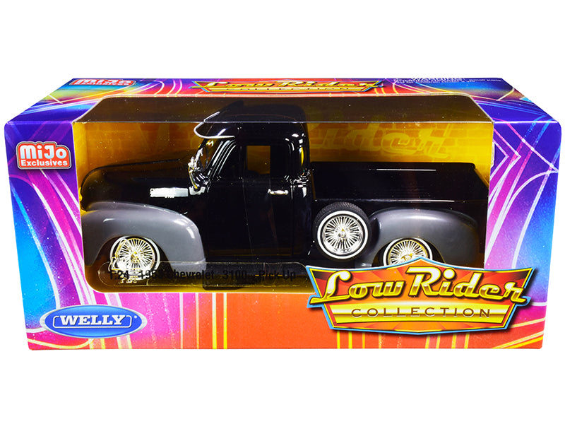 "1953 Chevrolet 3100 Pickup Truck Black and Gray ""Low Rider Collection"" 1:24 Diecast Model Car - Welly - 22087LRBK"