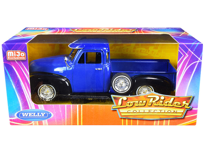 "1953 Chevrolet 3100 Pickup Truck Blue and Black ""Low Rider Collection"" 1:24 Diecast Model Car - Welly - 22087LRBL"