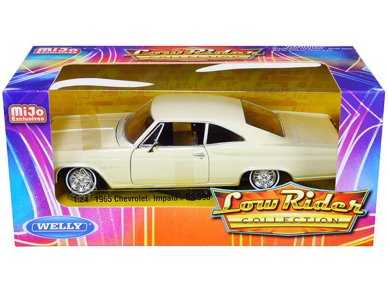 "1965 Chevrolet Impala SS 396 Beige ""Low Rider Collection"" 1:24 Diecast Model Car - Welly - 22417LRBEI"