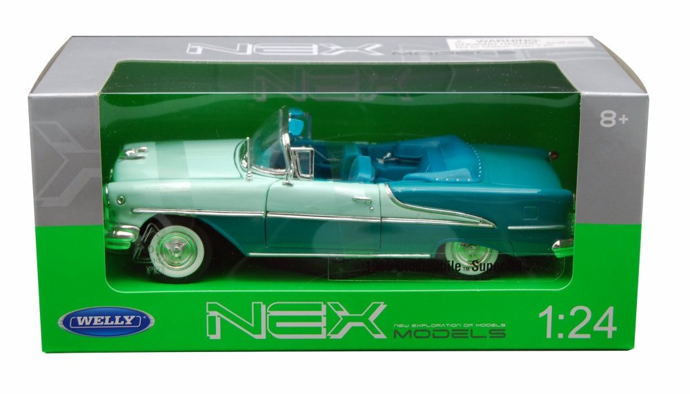 1955 Oldsmobile Super 88 Convertible Green 1/24 Scale Diecast Model Car - Welly - 22432
