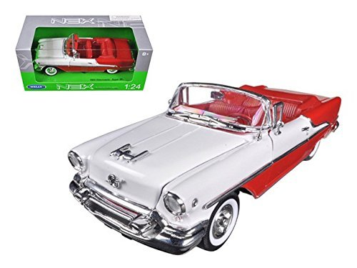 1955 Oldsmobile Super 88 Red 1/24 Scale Diecast Model Car - Welly - 22432