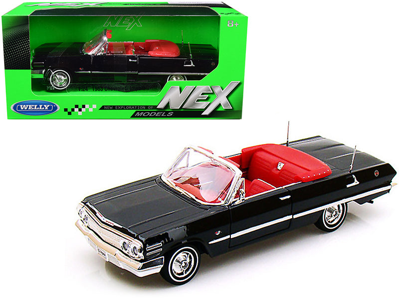 1963 Chevrolet Impala Convertible Black with Red Interior 1:24 Diecast Model Car - Welly - 22434BK