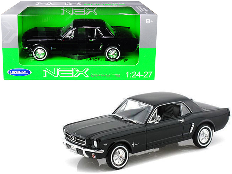1964 1/2 Ford Mustang Coupe Hard Top Black 1/24-1/27 Diecast Model Car - Welly - 22451BK