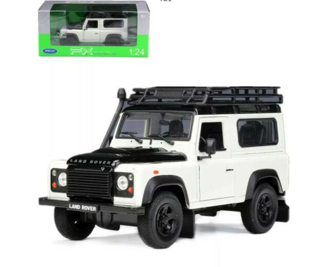 Land Rover Defender w/ Roof Rack White 1/24-1/27 Diecast Model Car - Welly - 22498WH