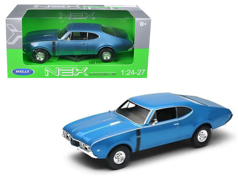 1968 Oldsmobile 442 Welly 1:24-1:27 Diecast Model Blue - Welly - 24024BL