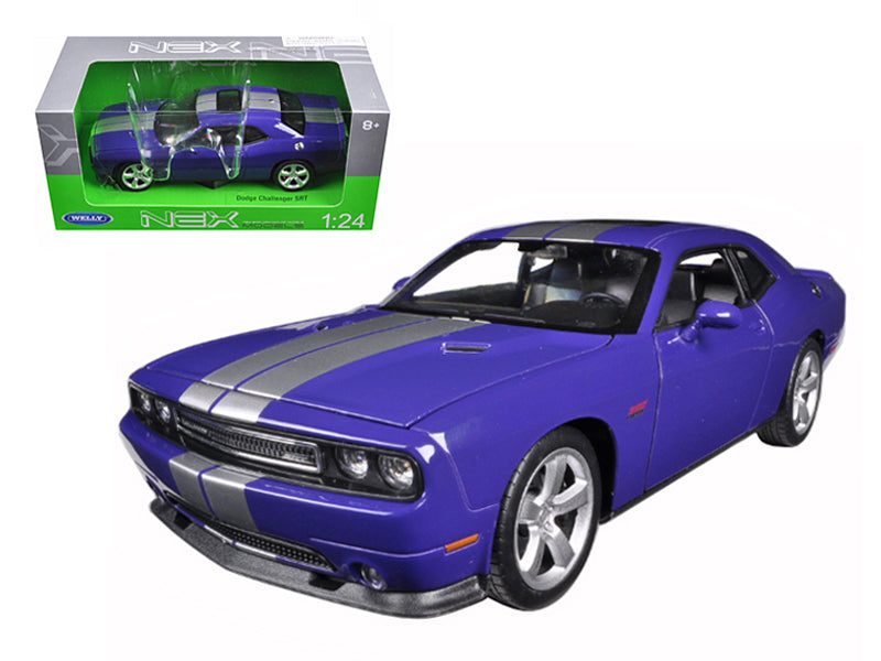 Dodge Challenger SRT Purple with Silver Stripes 1/24-1/27 Diecast Model Car - Welly - 24049
