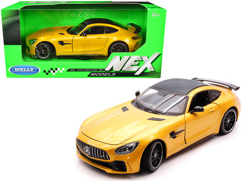 "Mercedes AMG GT R Yellow Metallic with Carbon Top ""NEX Models"" 1:24 Diecast Model Car - Welly - 24081YL"