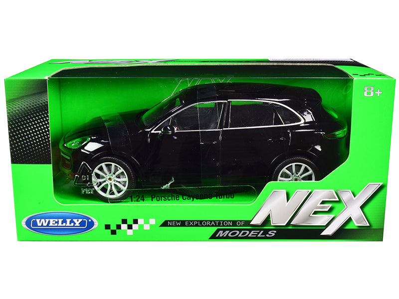 "Porsche Cayenne Turbo Black with Silver Wheels ""NEX Models"" 1:24 Diecast Model Car - Welly 24092BK"