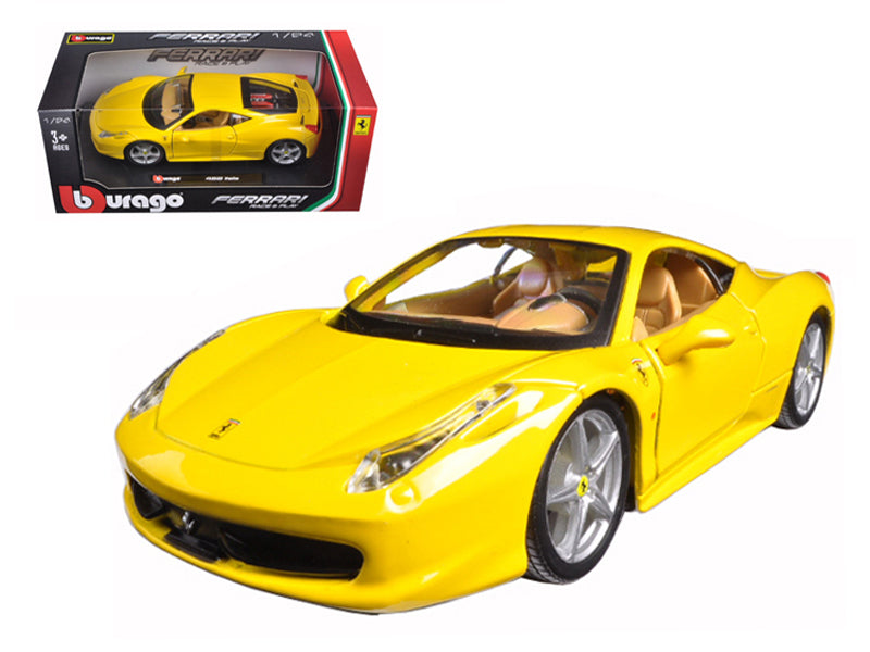 Ferrari 458 Italia Yellow 1:24 Scale Diecast Model Car - Bburago - 26003YL