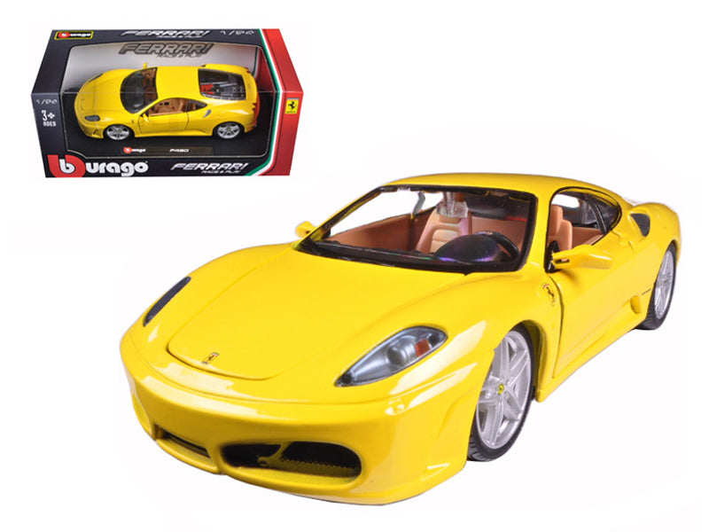 2004 Ferrari F430 Yellow Bburago 1:24 Diecast Model Car - Bburago - 26008YL