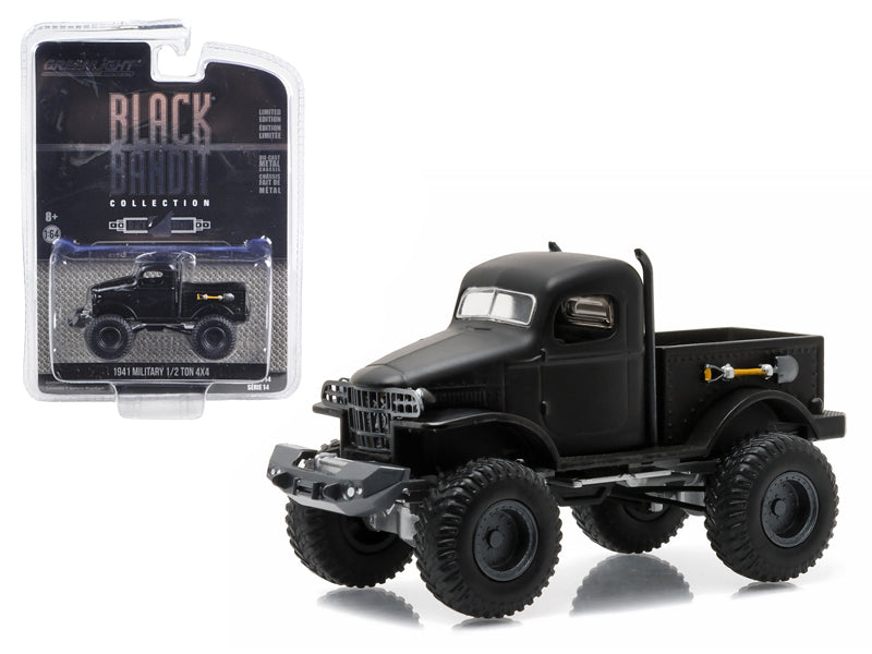 1941 Military 1/2 Ton 4x4 Black Bandit 1:64 Diecast Model truck - Greenlight - 27840A