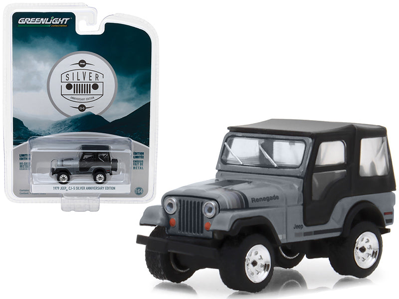 "1979 Jeep CJ-5 Gray w/ Black Top ""Silver Anniversary Edition"" Anniversary Collection Series 6 1:64 Diecast Model Car - Greenlight - 27940C"