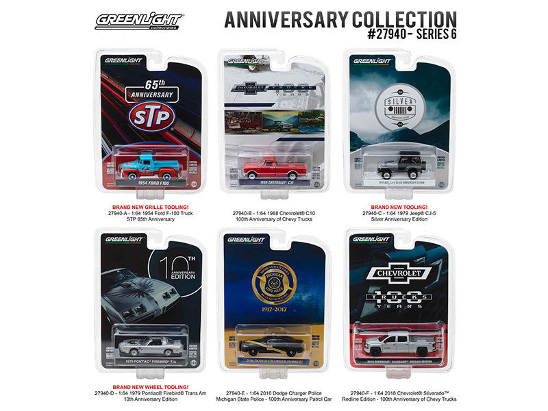 Anniversary Collection Series 6, 6pc Diecast Car Set 1/64 Diecast Model Cars - Greenlight - 27940SET