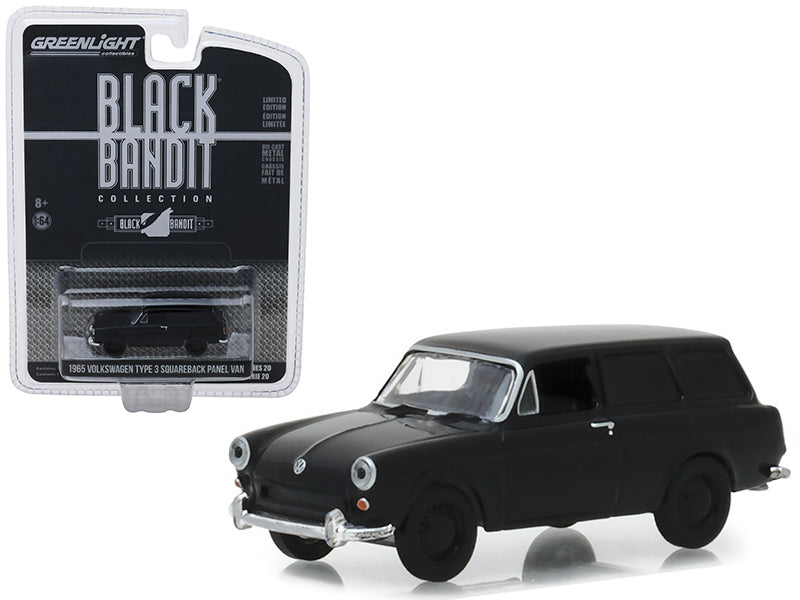 "1965 Volkswagen Type 3 Squareback Panel Van ""Black Bandit"" Series 20 1:64 Diecast Model Car - Greenlight - 27960A"