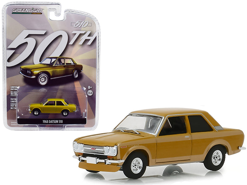 "1968 Datsun 510 Metallic Yellow ""50 Years of the Datsun 510"" ""Anniversary Collection"" Series 7 1/64 Diecast Model Car - Greenlight - 27970A"