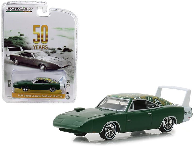 "1969 Dodge Charger Daytona Mod Top Green w/ White Stripe ""50th Anniversary"" ""Anniversary Collection"" Series 7 1:64 Diecast Model Car - Greenlight - 27970B"