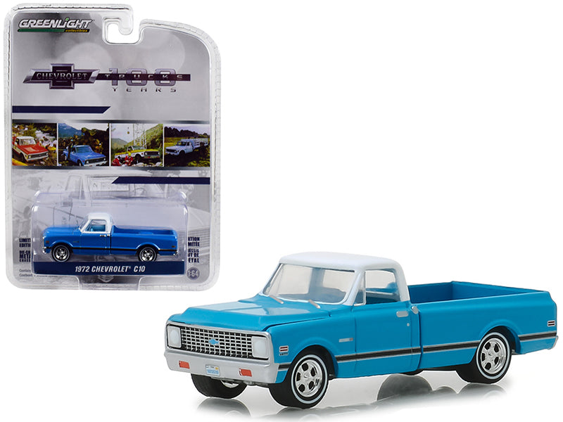 "1972 Chevrolet C-10 Pickup Truck Blue w/ White Top & Black Stripes ""100 Years Anniversary of Chevrolet Trucks"" ""Anniversary Collection"" Series 7 1:64 Diecast Model Car - Greenlight - 27970C"