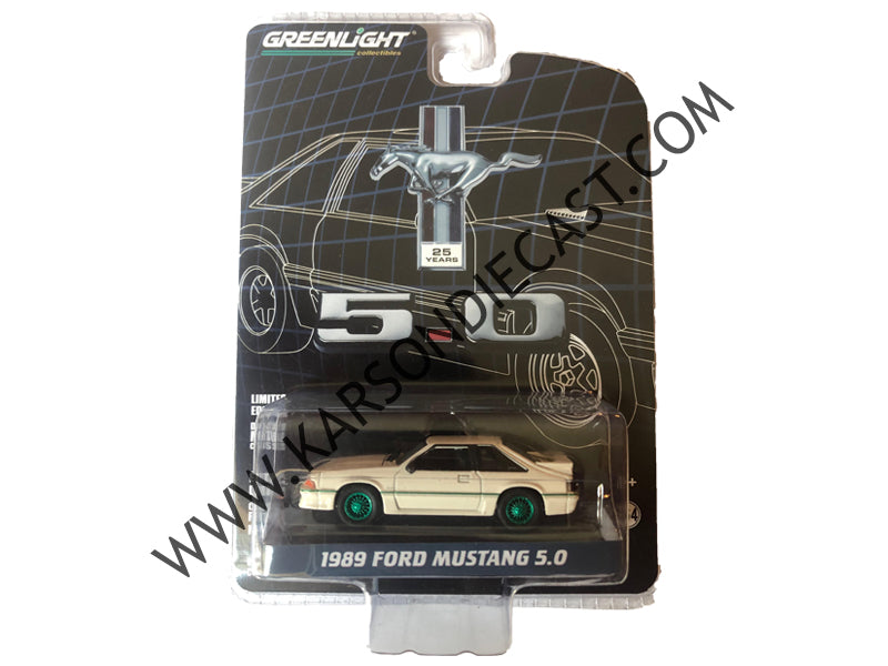 "1989 Ford Mustang 5.0 Cream w/ Red Stripe ""25 Years Anniversary Collection"" Series 7 1:64 Diecast Model Car - Greenlight - 27970E - CHASE GREEN MACHINE"