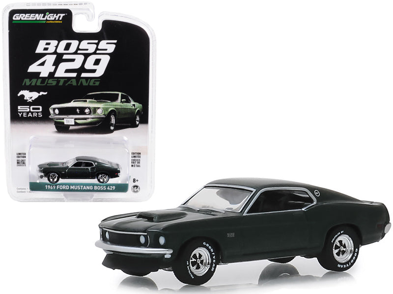 "1969 Ford Mustang Boss 429 ""50th Anniversary"" Dark Green ""Anniversary Collection"" Series 8 1:64 Diecast Model Car - Greenlight - 27980B"