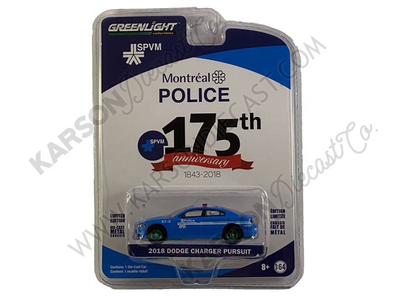 "2018 Dodge Charger Pursuit ""Montreal, Canada Police 175th Anniversary"" (1843-2018) Blue ""Anniversary Collection"" Series 8 1:64 Diecast Model Car - Greenlight - 27980E - CHASE GREEN MACHINE"