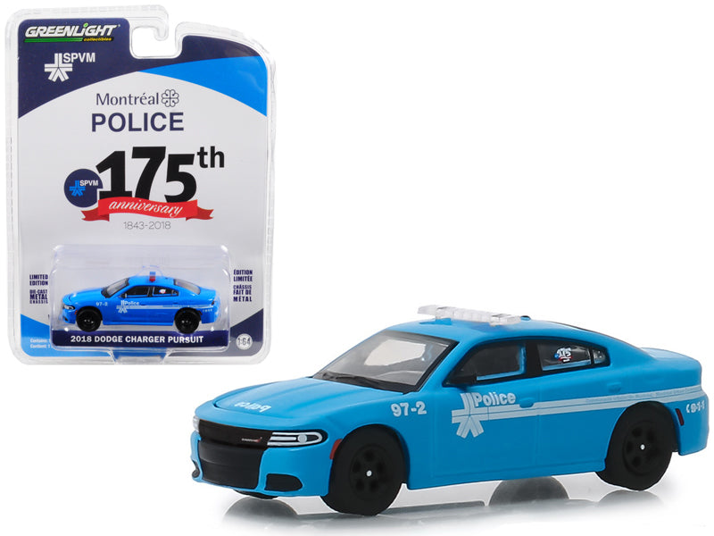 "2018 Dodge Charger Pursuit ""Montreal, Canada Police 175th Anniversary"" (1843-2018) Blue ""Anniversary Collection"" Series 8 1:64 Diecast Model Car - Greenlight - 27980E"