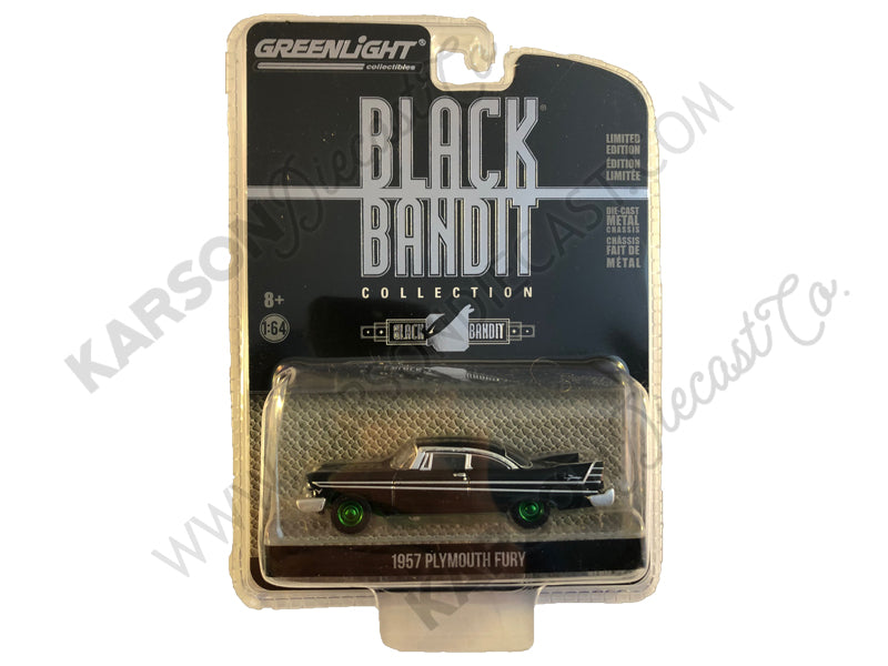 "1957 Plymouth Fury ""Black Bandit"" Series 21 1:64 Diecast Model Car - Greenlight - 27990A - CHASE GREEN MACHINE"