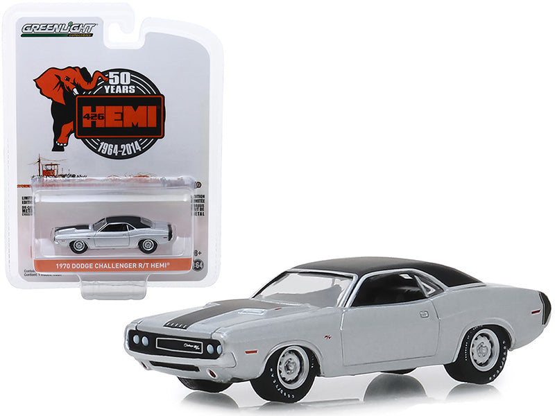 "1970 Dodge Challenger R/T HEMI Silver with Black Top and Black Stripes ""426 HEMI 50 Years"" (1964-2014) ""Anniversary Collection"" Series 9 1/64 Diecast Model Car - Greenlight - 28000B"