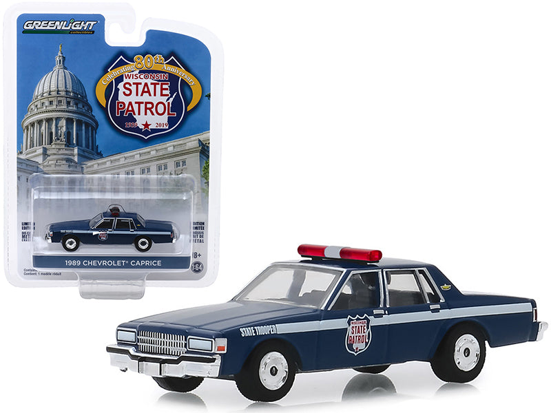 "1989 Chevrolet Caprice Police Car Dark Blue ""Wisconsin State Patrol 80th Anniversary"" (1939-2019) ""Anniversary Collection"" Series 9 1/64 Diecast Model Car - Greenlight - 28000D"