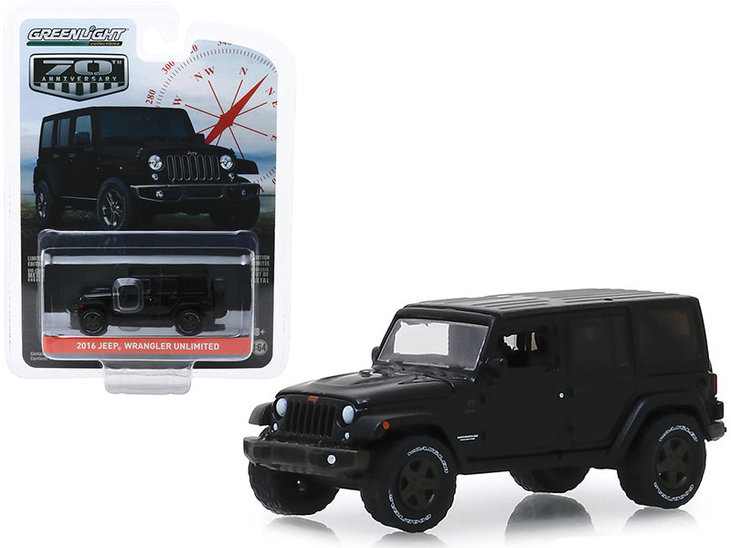 "2016 Jeep Wrangler Unlimited Black ""75th Anniversary Edition"" ""Anniversary Collection"" Series 9 1/64 Diecast Model Car - Greenlight - 28000F"