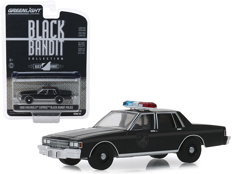 "1980 Chevrolet Caprice Black Bandit Police ""Black Bandit"" Series 22 1/64 Diecast Model Car - Greenlight - 28010D"