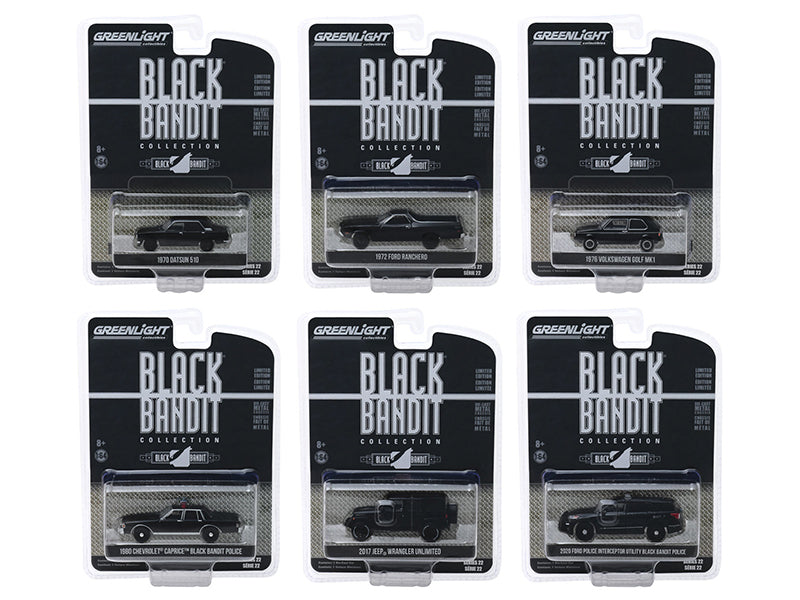 """Black Bandit"" Series 22, 6 piece Set 1/64 Diecast Model Cars - Greenlight - 28010"