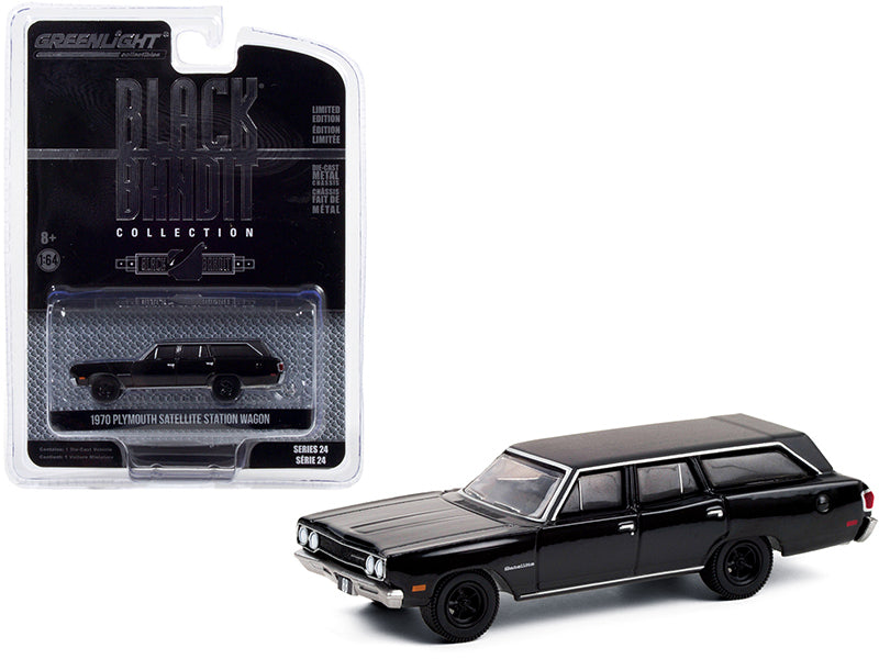 "1970 Plymouth Satellite Station Wagon ""Black Bandit"" Series 24 Diecast 1:64 Model Car - Greenlight - 28050A"