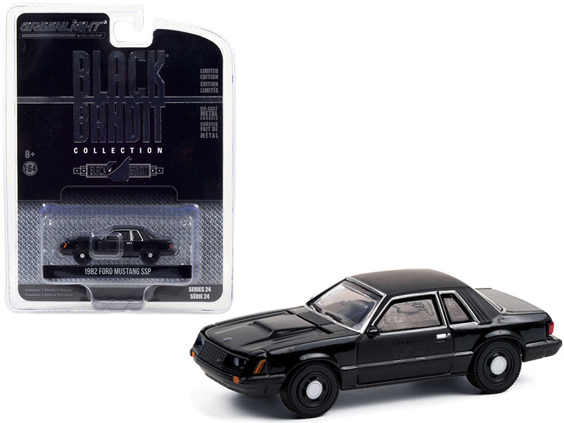 "1982 Ford Mustang SSP ""Black Bandit Police"" ""Black Bandit"" Series 24 Diecast 1:64 Model Car - Greenlight - 28050B"